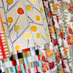 Photo of custom lamp shades featuring Scion Fabrics' Madagascar print