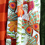 Photo of vibrant curtains in Madagasca print fabric by Zepel Upholstery