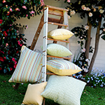 Photo of outdoor cushions in Zepel fabric for outdoor living decor