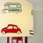 Photo of kids and teens bedroom decor, custom lamp shade featuring Sanderson fabric