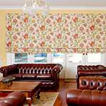 Thumb of floral fabric roman blinds for lounge or living room decor