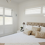 Thumb of painted timber plantation shutters for classic look bedroom decor