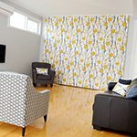 Thumb of roman blinds featuring modern floral fabric by Scion - family room decor