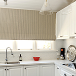 Thumb of roman blinds with textured stripe fabric by Marco Fabrics - kitchen decor