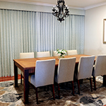 Thumb of dining room decor of linen curtains and pelmets