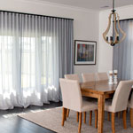 Thumb of living room decor with soft pleated curtain sheers